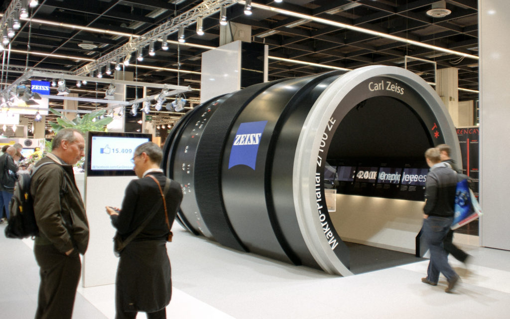 Giant Zeiss lens bigger than people that you can walk through