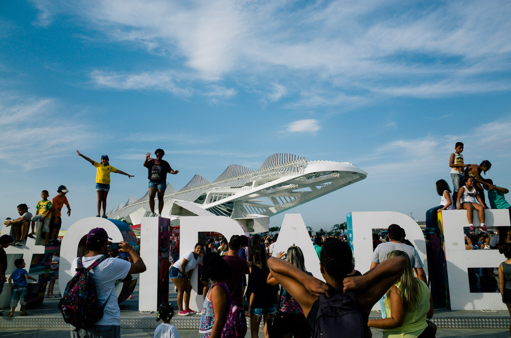 Photo taken with Ricoh camera of people at the olympic boulevard in rio de janeiro during the olympics