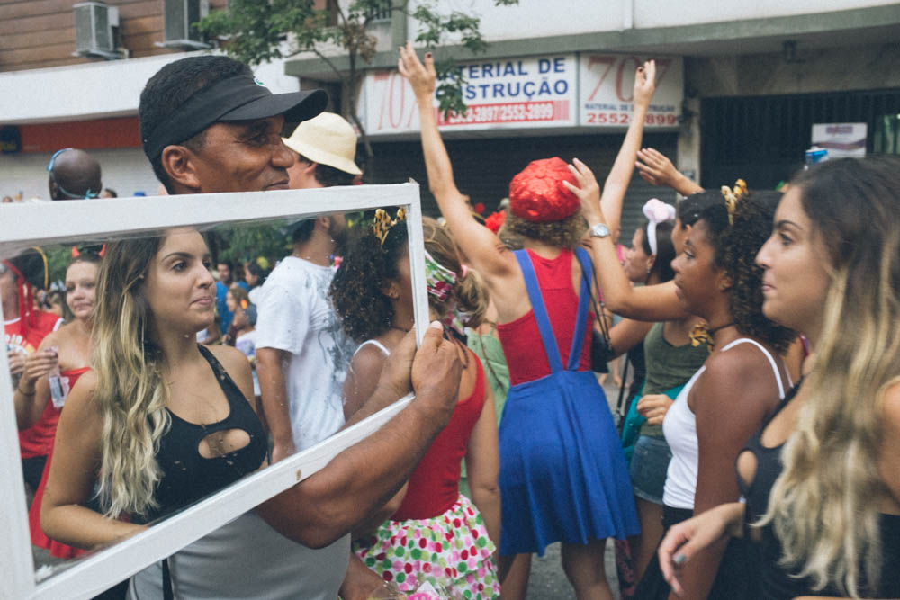 The Fujinon 23mm was the perfect focal length to have taken this image on the street during carnaval in Rio de Janeiro