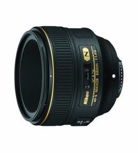 amazon product image of the best Nikon DX portrait lens, the nikon 58mm f1.4G