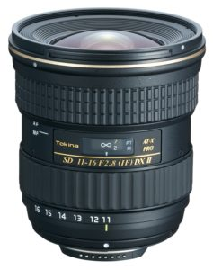 An Amazon product image of the Tokina 11-16mm f/2.8, which I've picked as the best Nikon DX wide angle lens