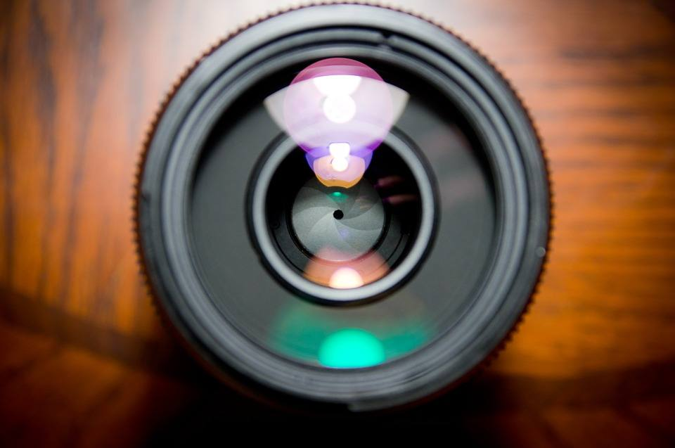 Picture of a lens with a focus on its small aperture