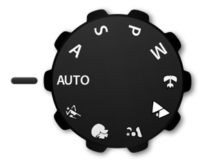 Image of a camera's mode dial set to auto, or automatic mode