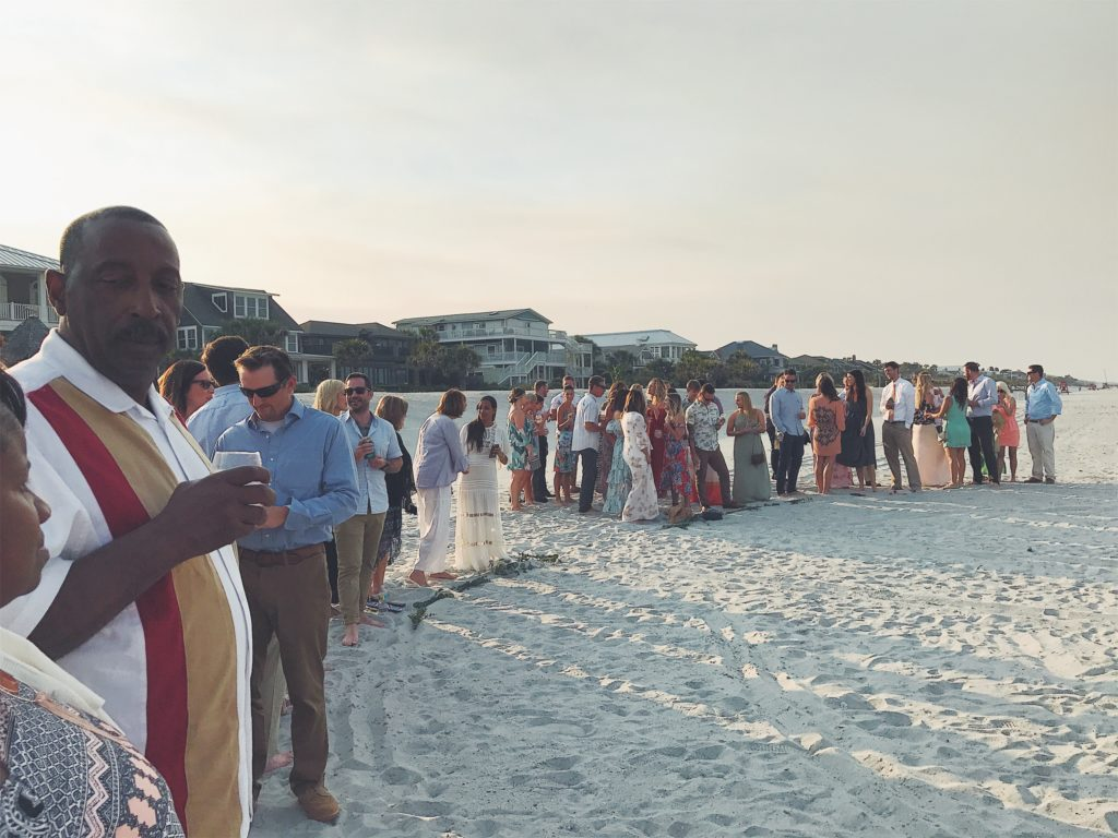People waiting for wedding to start shot with the iPhone 7 Plus camera