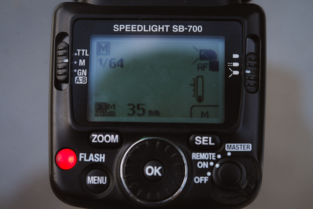 Image showing the screen and buttons of the Nikon SB-700