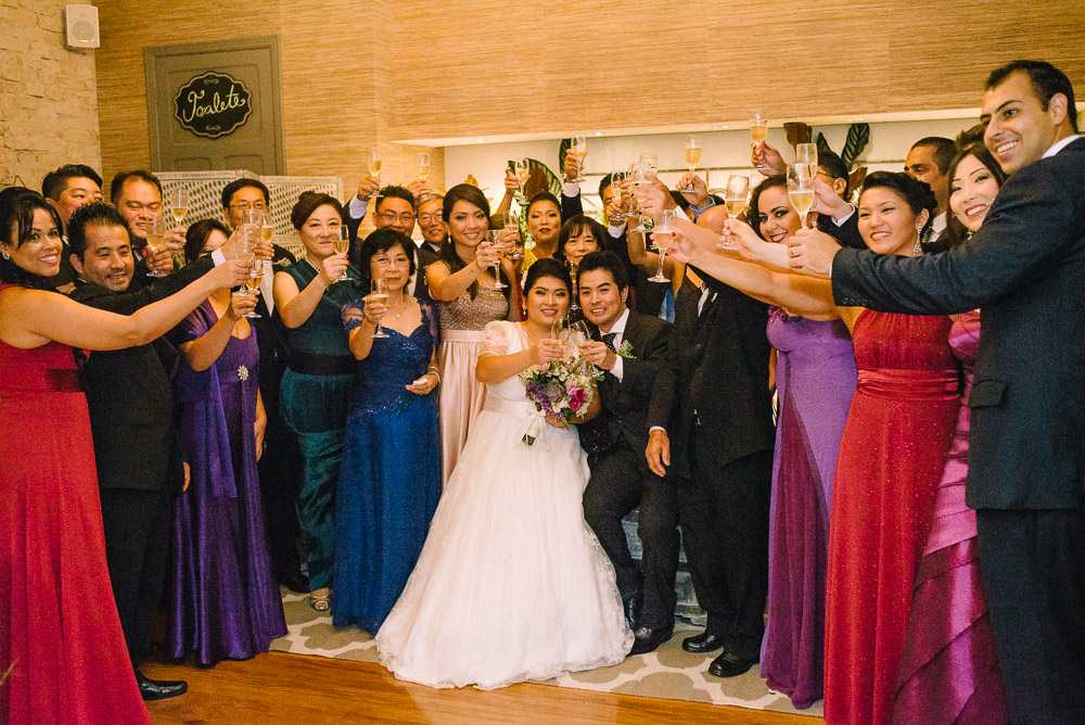 Group portrait of a wedding party toasting