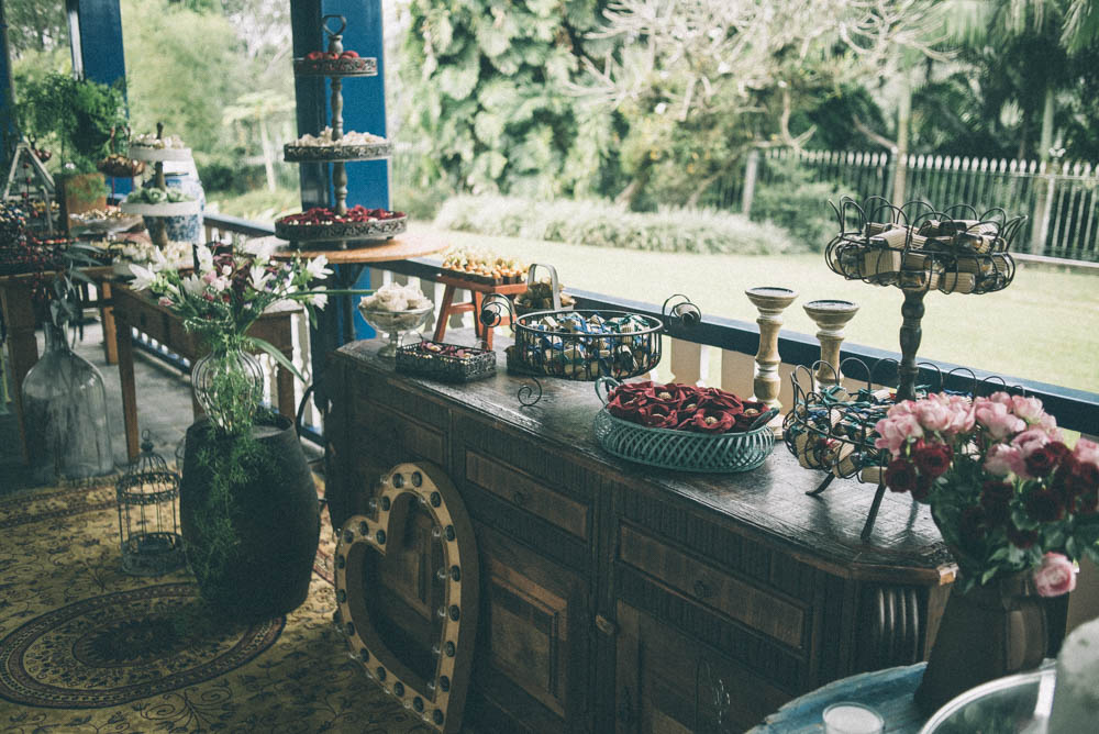 Image of the sweets for wedding guests at an outdoor wedding