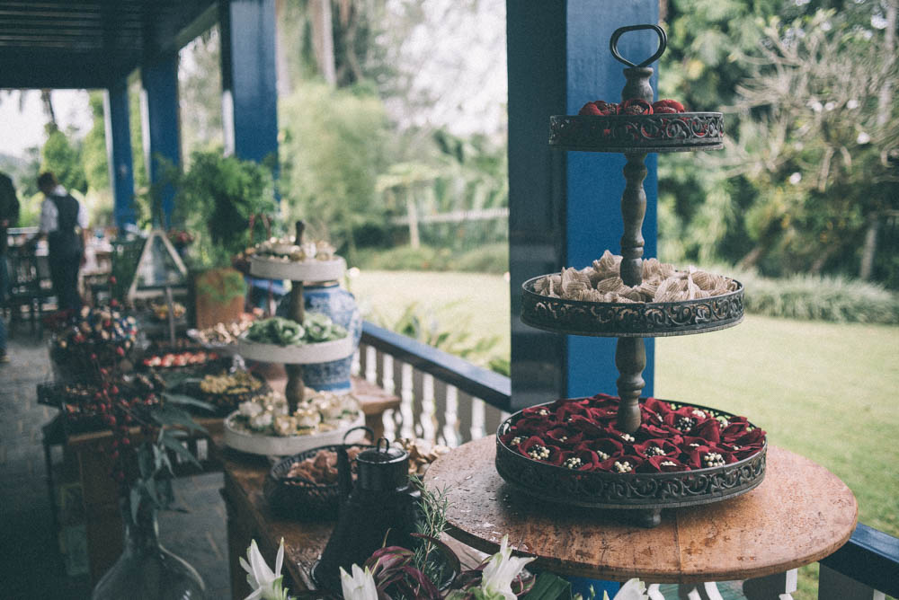 Wedding photography image of small cakes and candies for guests