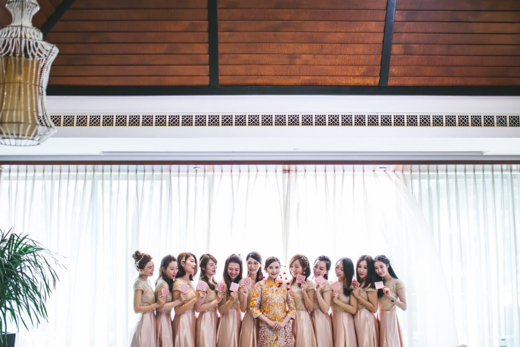Image showing a group of bridesmaids in pink dresses