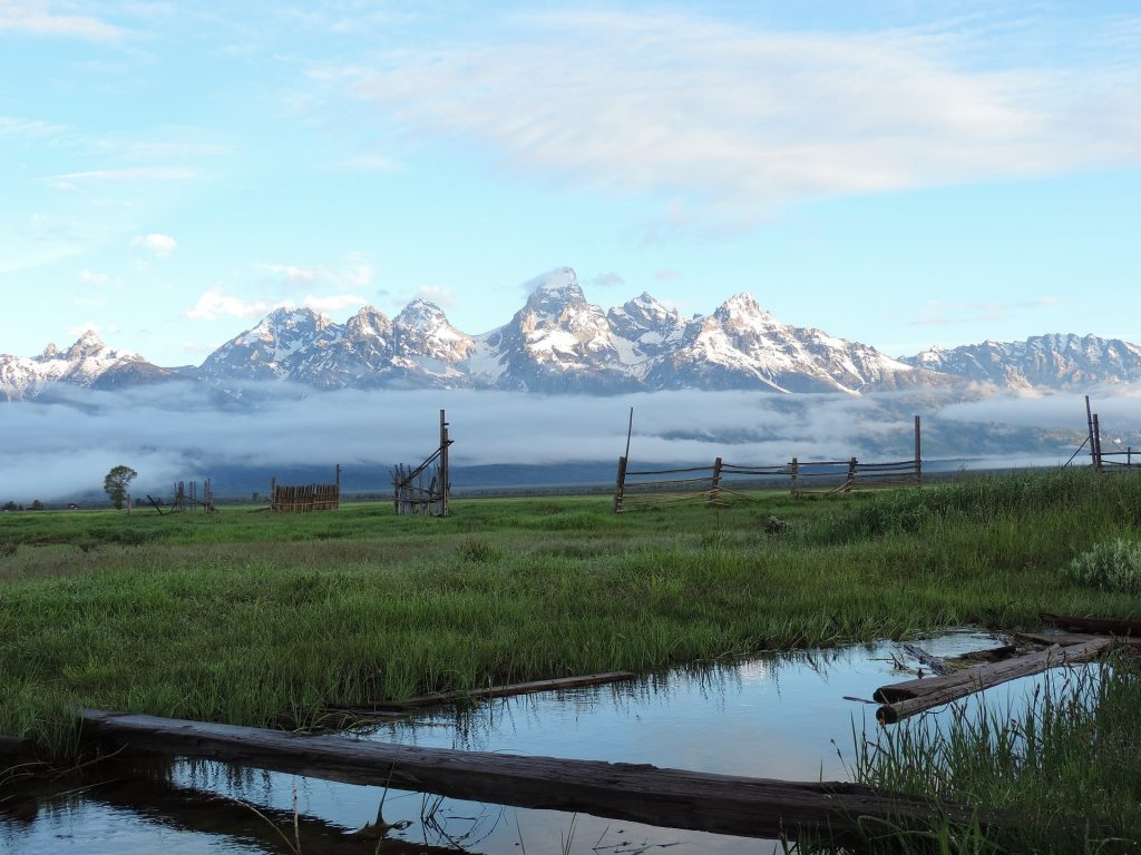 A photo of a small pond and some broken old wood fences in front of some fog and the Grand Tetons in the background