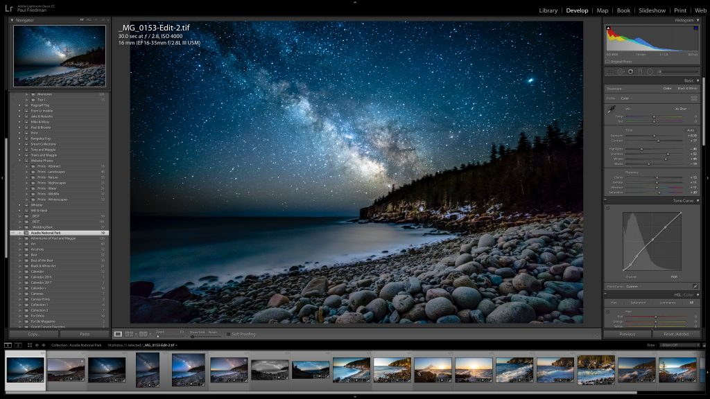 Image of a starry night photo opened in the Lightroom adjustments panel