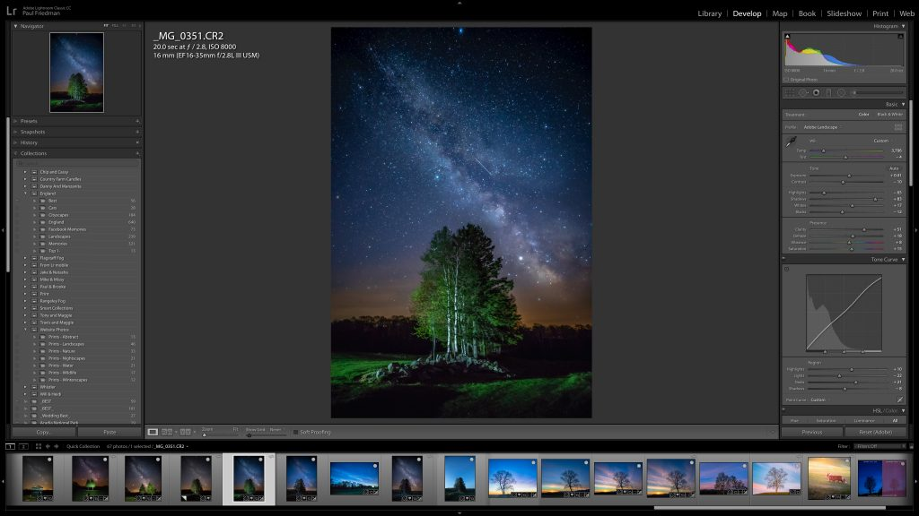 Image of a tree in front of a starry night opened in Lightroom