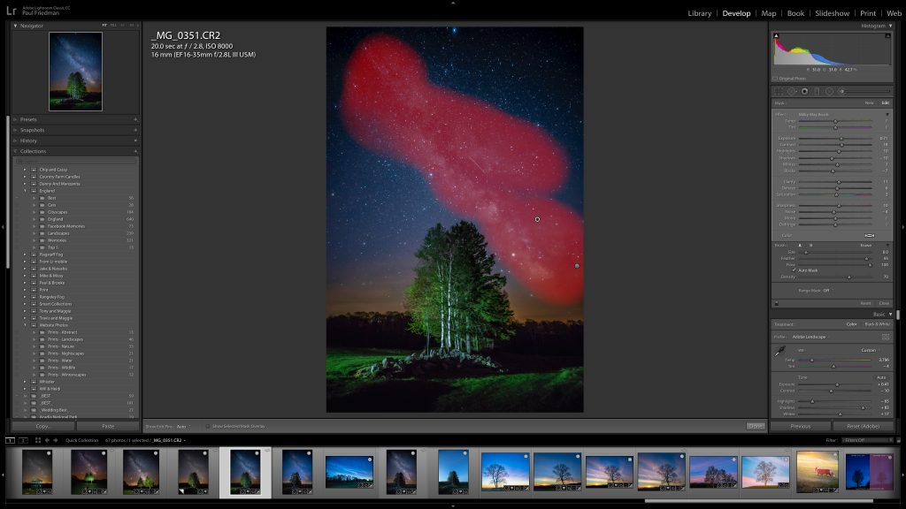 Image of an image of a greet tree in front of a starry night sky with the brush mask being used on the Milky Way
