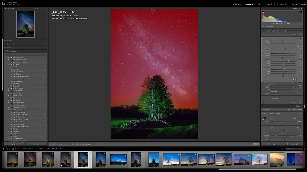 Image of an star photography image open in Lightroom making edits with the brush mask