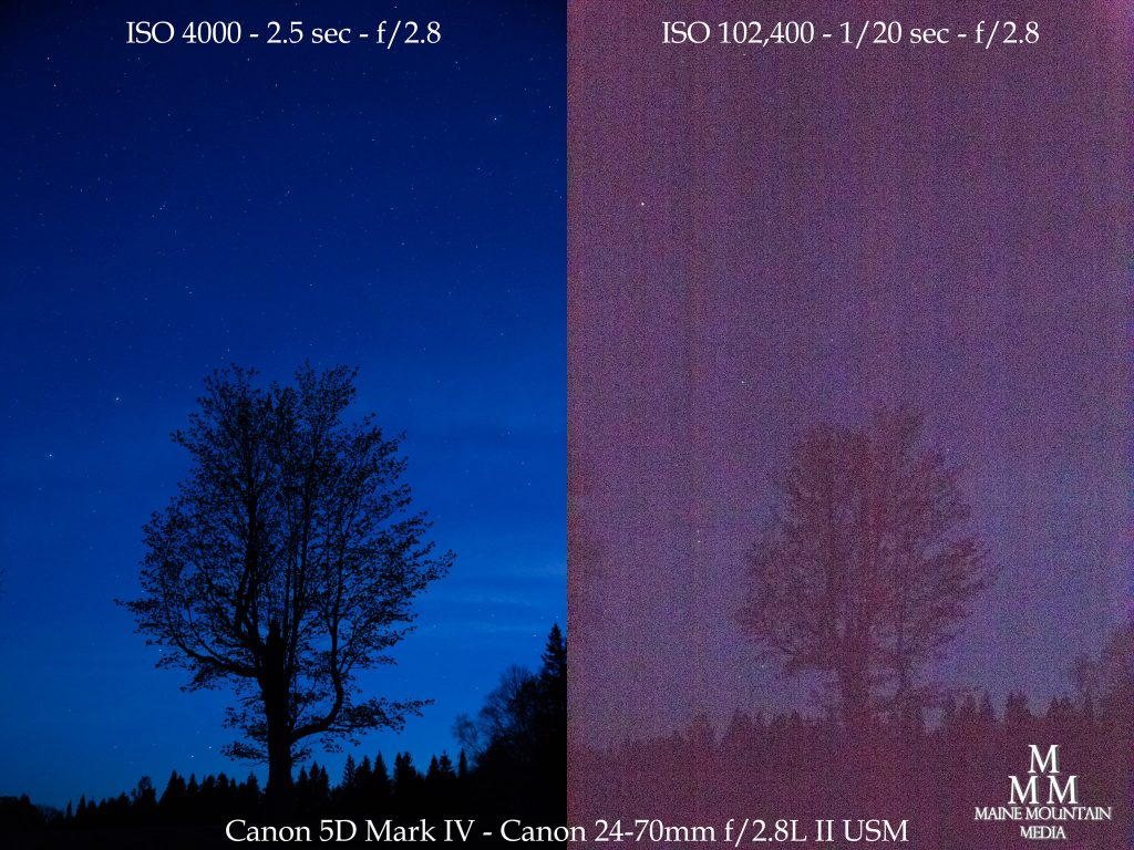 Side to side images of stars and a night sky showing the differences between a low and high ISO