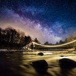 Image of a river with a lit up bridge and the Milky Way in the background