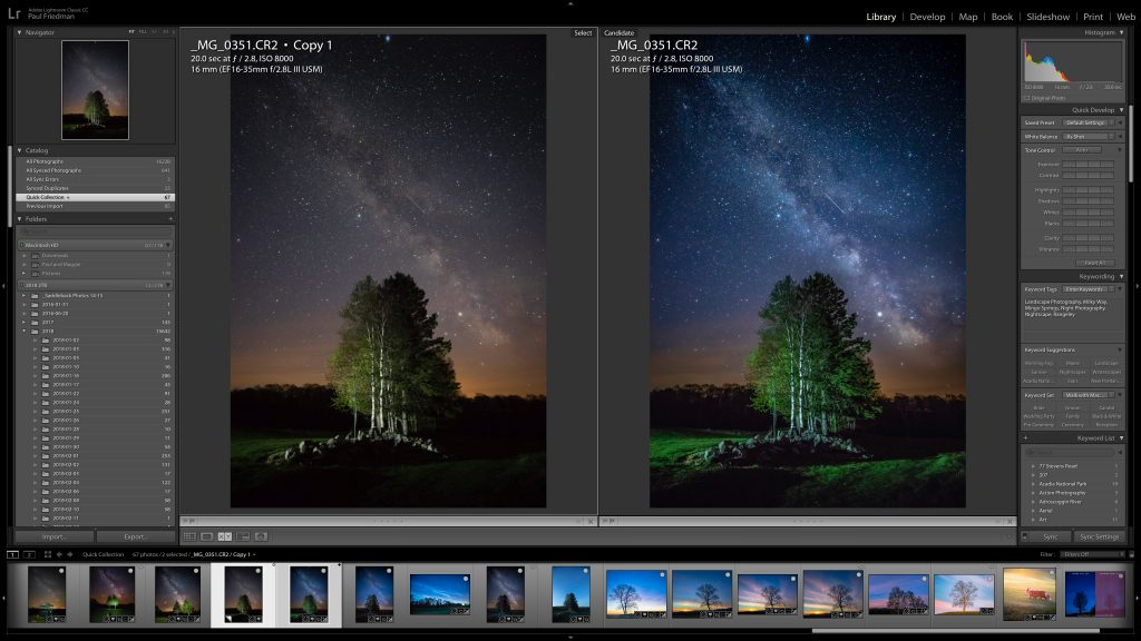 Image of two photos side by side opened in Lightroom showing the before and after of editing star photography