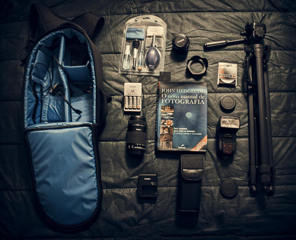 Image of a bunch of gear laid out for doing night photography