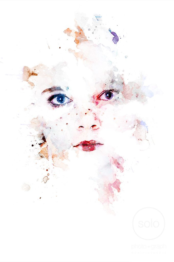 Image of a girl in a Halloween costume Photoshopped with a water color effect