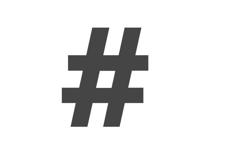 Image of a black hashtag on a white background for article on the best street photography hashtags