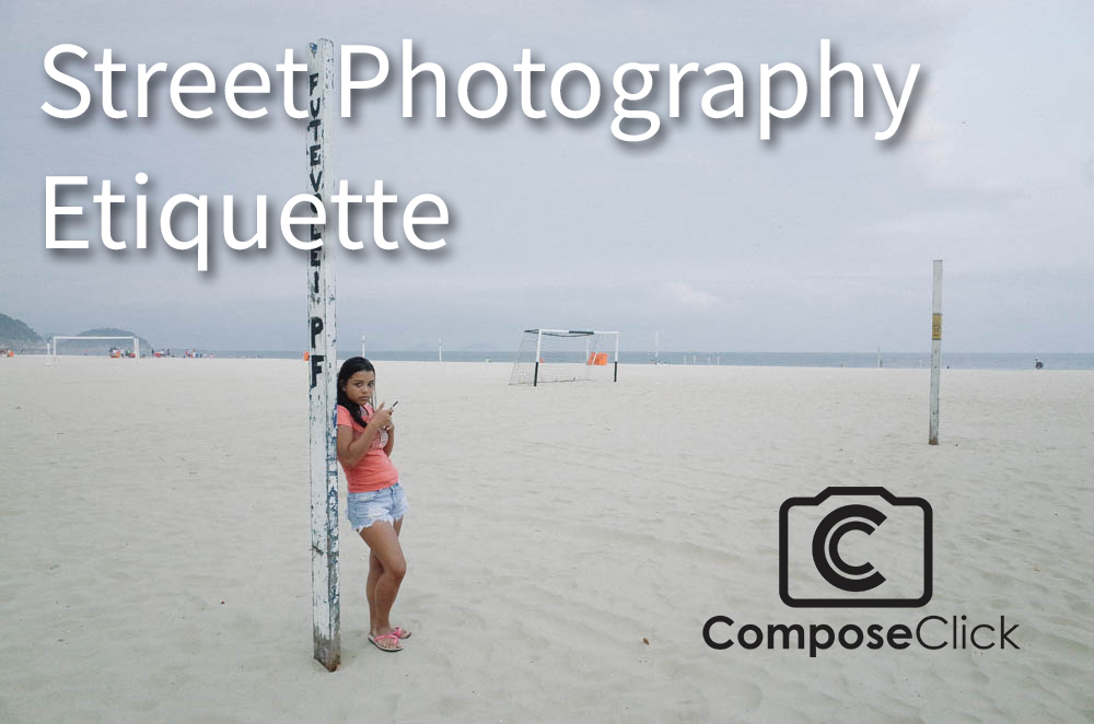 Street photography image of young woman on beach