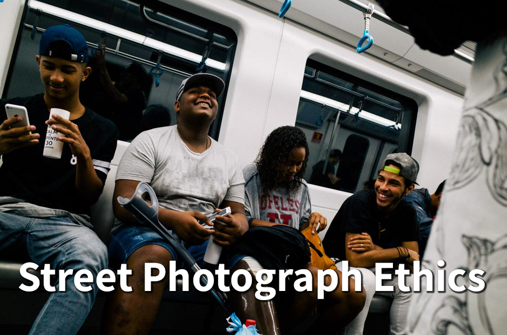 Image of kids on subway laughing with text overlay saying 'street photography ethics'