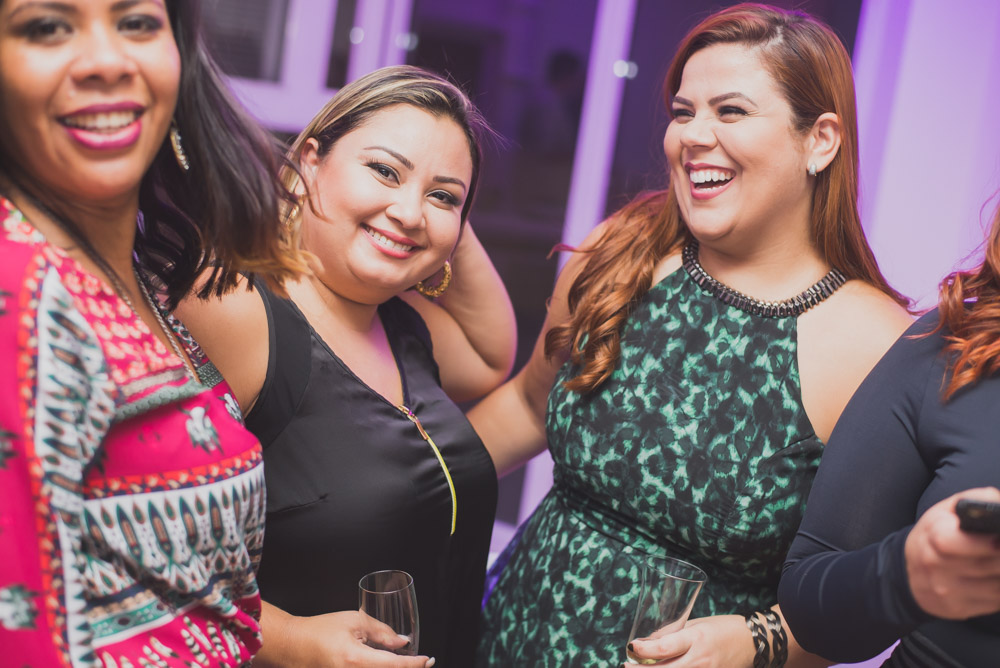 Image of women at a corporate event shot on a 35mm lens