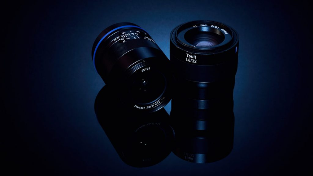 Product photography images of two camera lenses