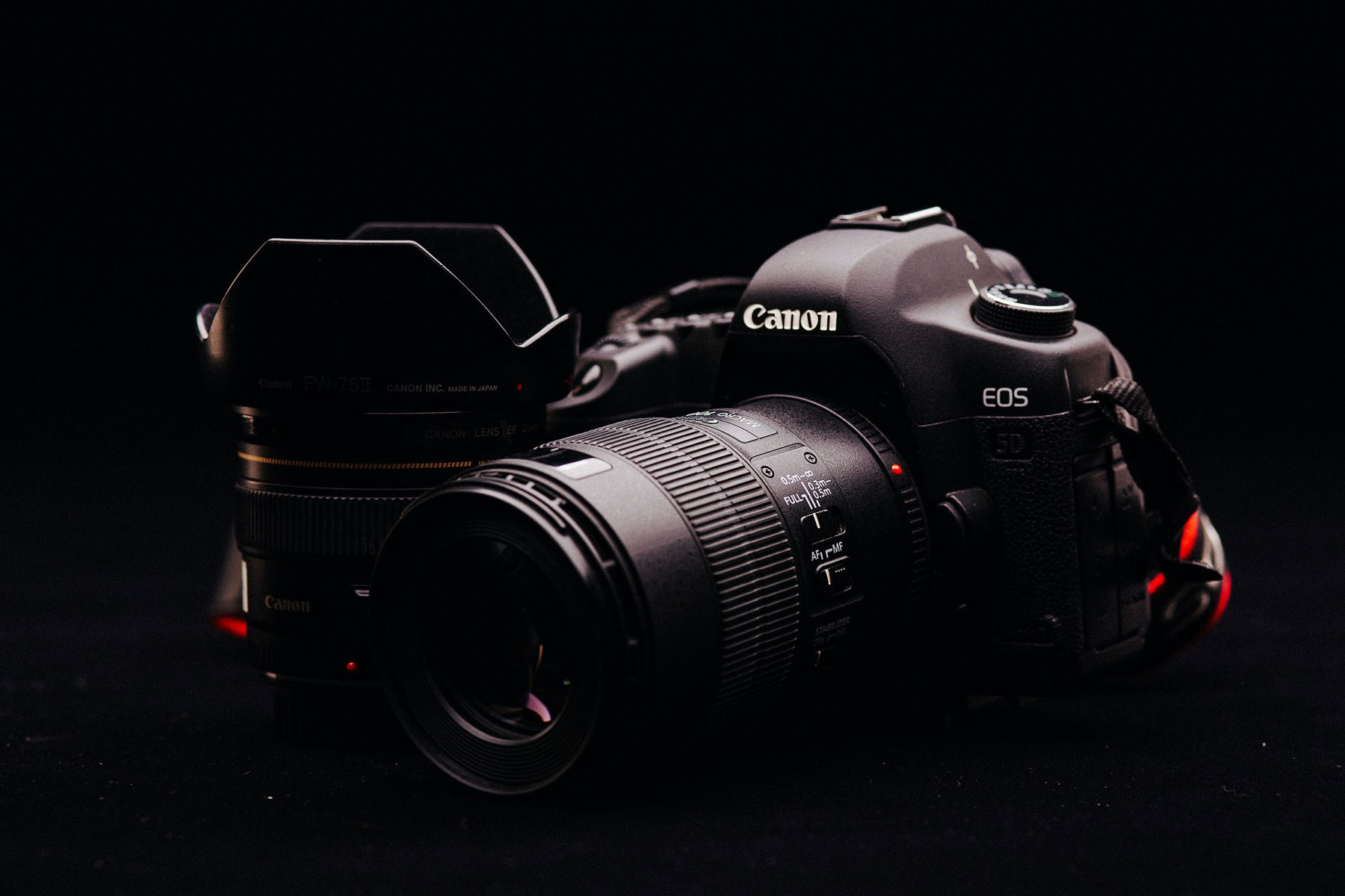 Image of a black Canon camera and lenses against a black backdrop