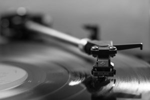 Black and white photo of a record player