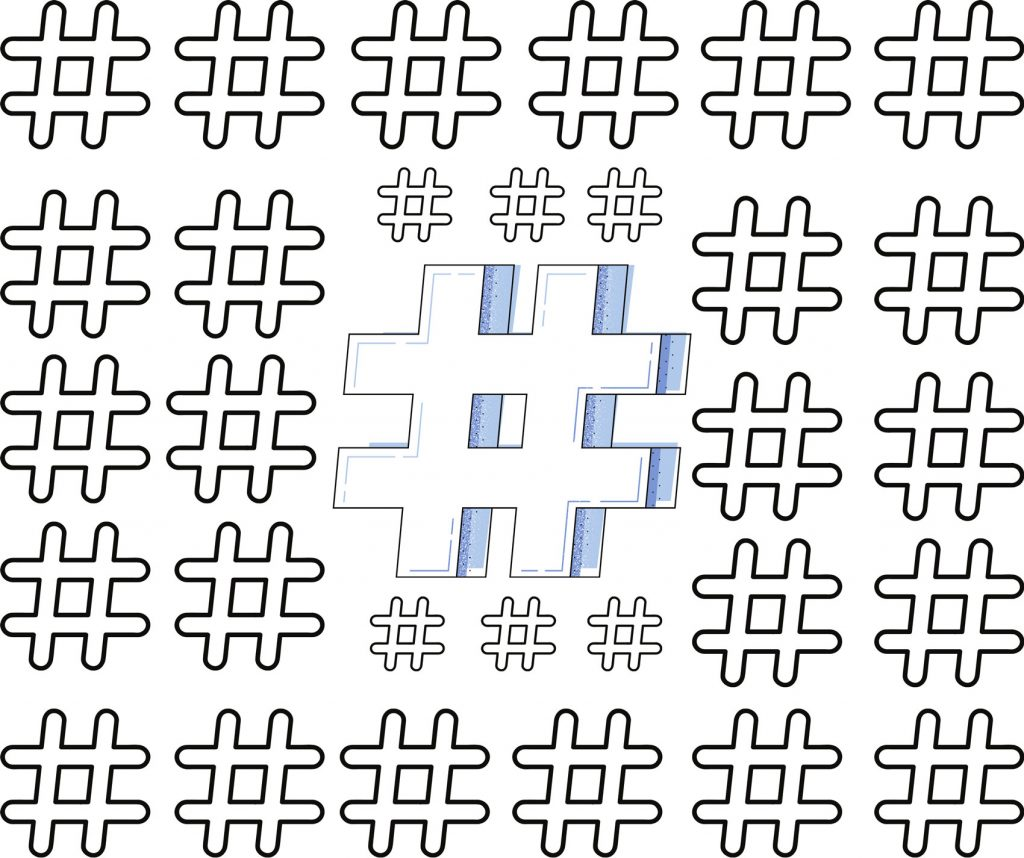 Image of a pattern of hashtags on a white background