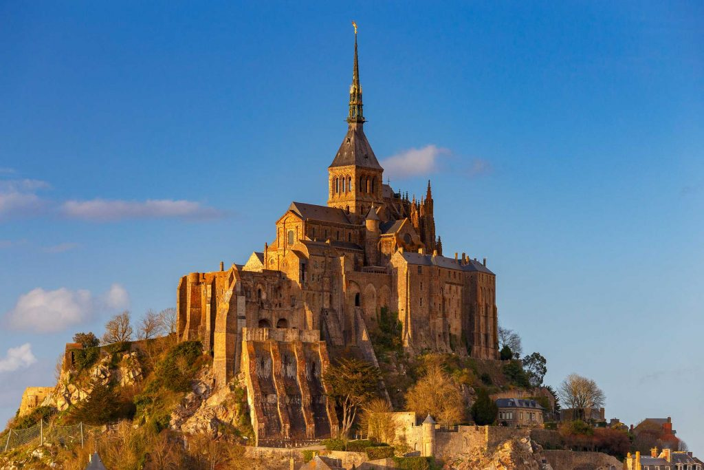 Image of Mont Saint-Michel in Normandy, France during the golden hour