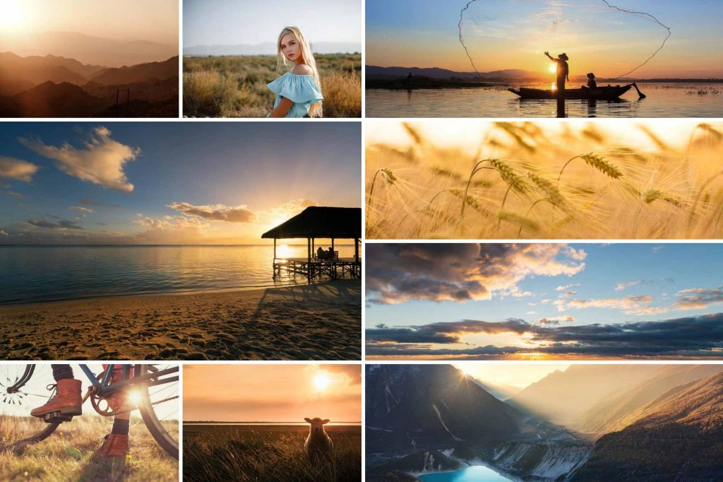 Collage of golden hour images